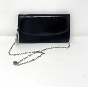 Nordstrom Black Patent Leather Chain Clutch Wrist